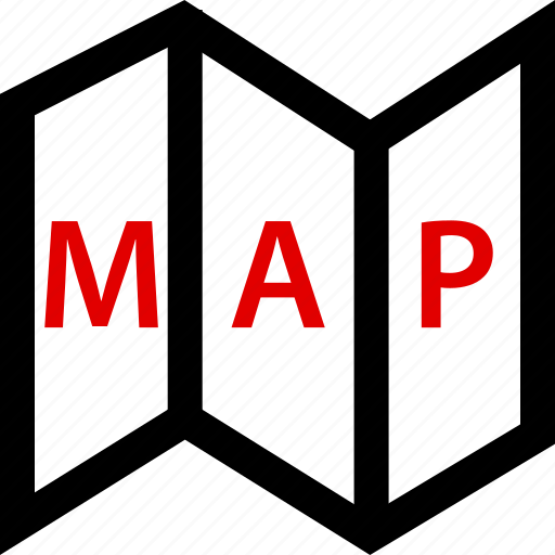 folded, locate, map icon