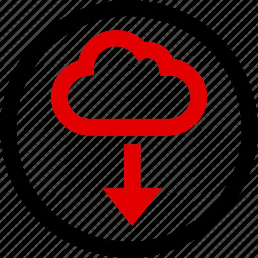 arrow, cloud, down, menu icon