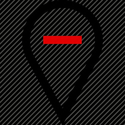 locate, negative, point icon