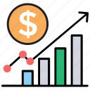 business analytics, business growth, increase in sales, revenue growth, revenue performance icon
