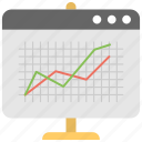 comparative research, line graph analytics, seo report, web analysis, web performance icon
