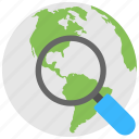global search, globe under magnifier, internet surfing, web search, website browsing icon
