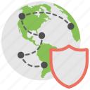 global security, globe and shield, network protection, networking shield, secure connection icon