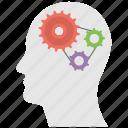 brain working, gear head man, head functioning, mental mechanism, thinking process icon