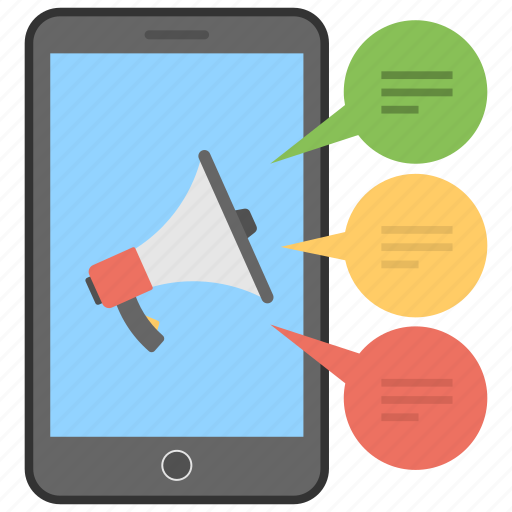 marketing strategy, mobile advertisement, mobile communication, promotional messages, sms marketing icon