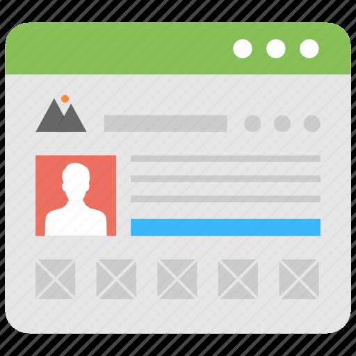 demographics, personal information, social media account, user profile, web account icon