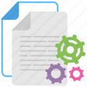 data management, data processing, document setting, page development, paper construction icon