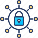 connections, locked, network, protection, secure, security, shield