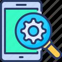 gear, magnify, mobile, optimizing, seo, setting, synchronizing
