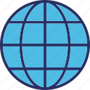 global coverage, globe, map, planet icon