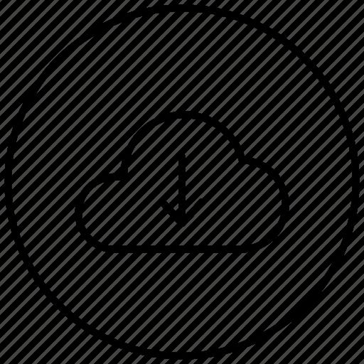 arrow, cloud, download, downloading, downward, icloud icon