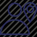 location, location marker, map pin, navigation, person location icon