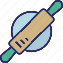 bread roller, dough roller, kitchen accessories, kitchen utensil, rolling pin icon