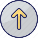 directional arrow, navigational, up arrow, upload, uploading arrow icon