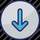 directional arrow, down arrow, download, downloading arrow, navigational icon