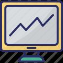 diagram, monitor, online analytics, online graphs, online infographics icon