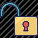 access, open lock, padlock, password, unlock icon
