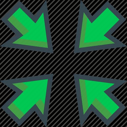 area, arrow, direction, meeting, minimize, point icon