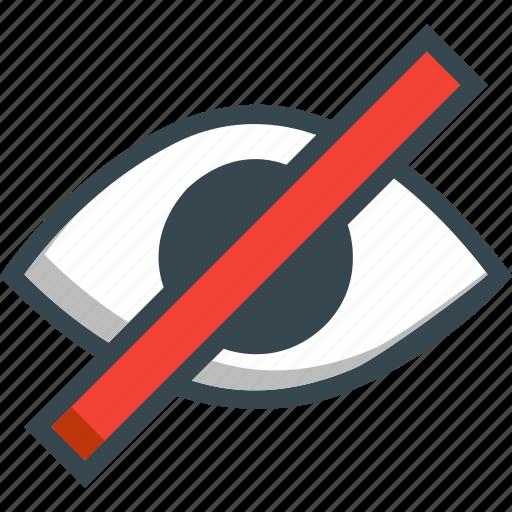 denied, eye, eyesight, forbidden, invisible, sight, view icon
