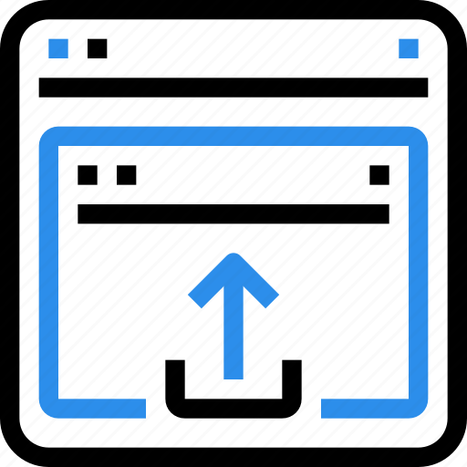 arrow, browser, file, interface, media, upload, web icon