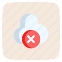 cloud, computing, cross, mark, storage, disconnected, cancel