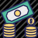 bank, bill money, cash, coins, currency, dollar, money