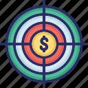 cash, money, profit, target