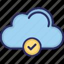 cloud, storage, sync, tick mark icon