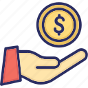 coin, currency, hand, money icon