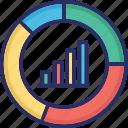 bar chart, pie chart, presentation, progress icon