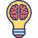 brain, bulb, creative ideas, creativity icon