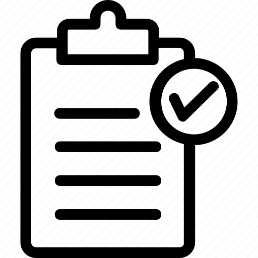 approved, clipboard, document, paper, text icon