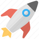 flying rocket, missile, rocket, rocket launch, spaceship icon