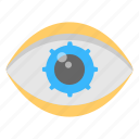 creative design, creative eye, cyborg eye, design inspirations, gear inside eye icon