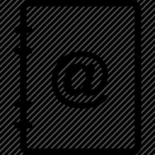 arroba, book, diary, information, notebook icon