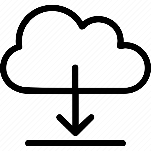 arrow, cloud, down, download, ui icon
