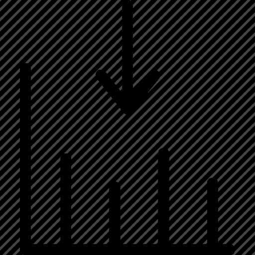 arrow, bar, down, graph, statistics icon