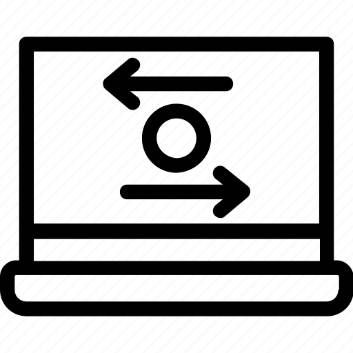 arrows, exchange, laptop, screen, transfer icon