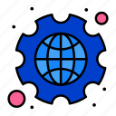 cog, gear, globe, settings