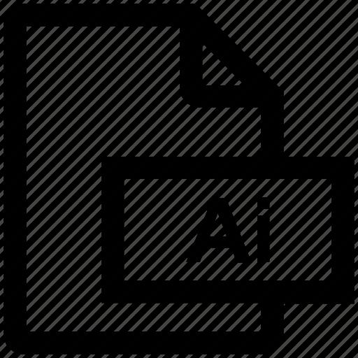 adobe, ai file, file, format, illustrator, vector format icon