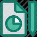 edit, file, format, graph, page, paper, pencil icon