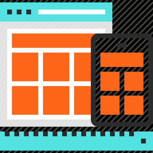 adaptive, design, development, device, mobile, responsive, web icon