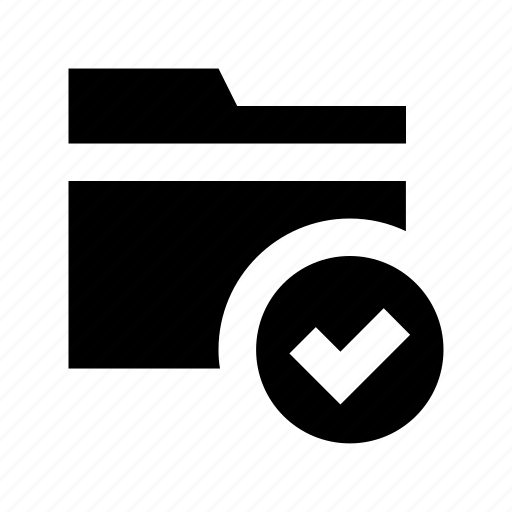 archive, checkmark, folder, folder checked, folder verified icon