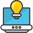 communication technology, cybernetics, internet knowledge, internet technology, laptop bulb icon