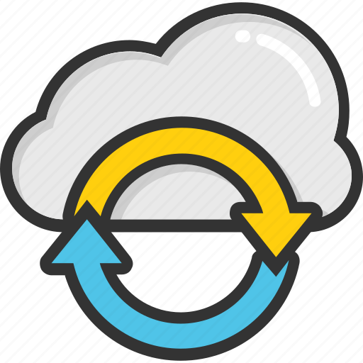 cloud computing, cloud refresh, cloud service, cloud syncing, data sync icon