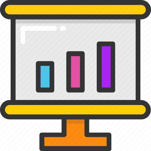 analytics, graph, line chart, presentation, projection icon