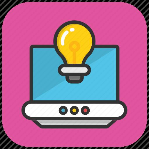 communication technology, cybernetics, internet knowledge, internet technology, laptop bulb icon