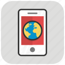 android phone, mobile communication, mobile globe, mobile internet, smartphone icon