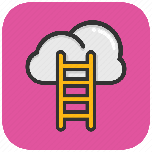 cloud ladder, cloud stairway, competition concept, ladder to cloud, success ladder icon