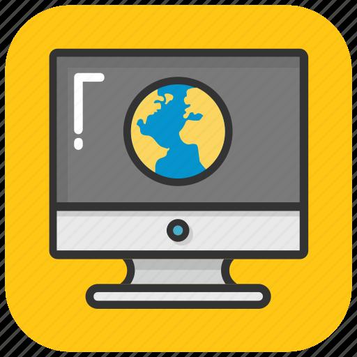 computer internet, computer world, cyberspace, global network, monitor globe icon
